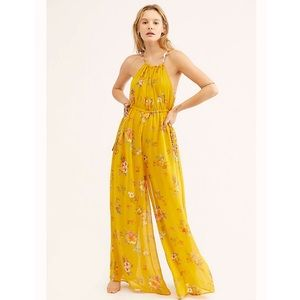 Free People Georgia Jumpsuit in Gold Combo NWT